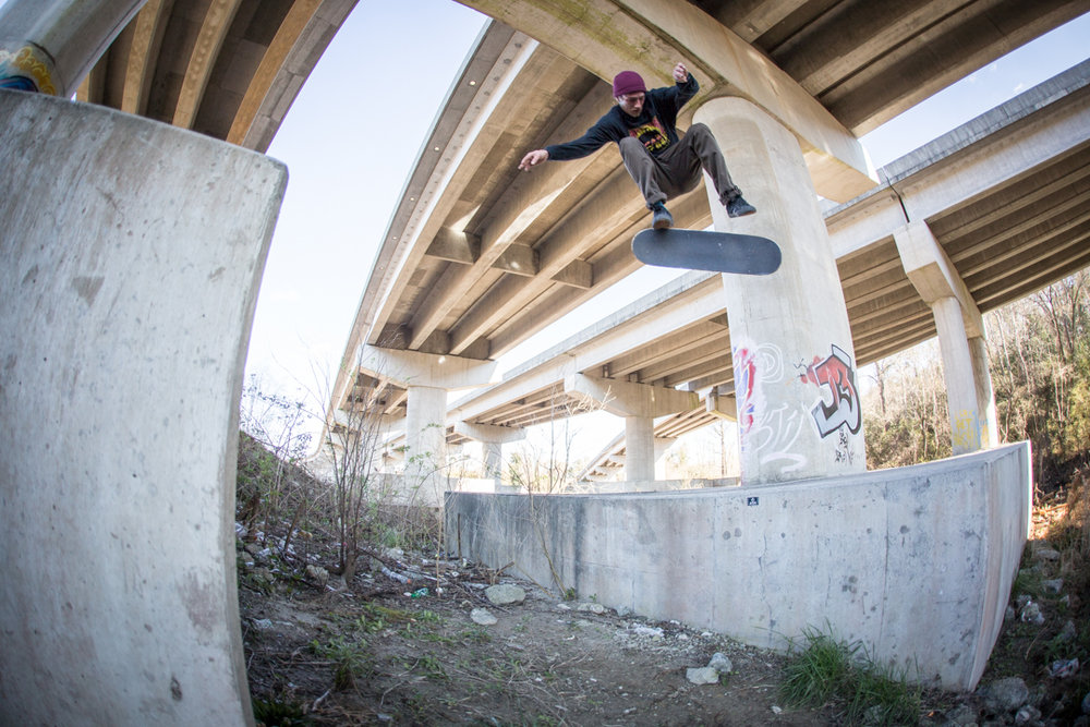 Then we headed under the bridge for a banger backside flip.