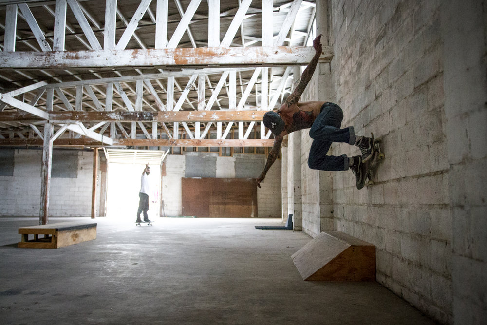 "March brought the inception of ""The Space"".  A few guys got together and rented a warehouse outside of downtown Wilmington and started bringing boxes and rails and what-have-you.  Nick here, wallrides one of the early set-ups."