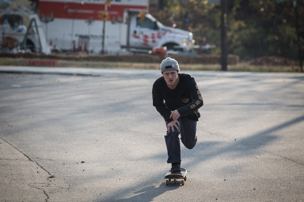 Here's a lifestyle pushing skate shot showing Justin's true aggressive side.