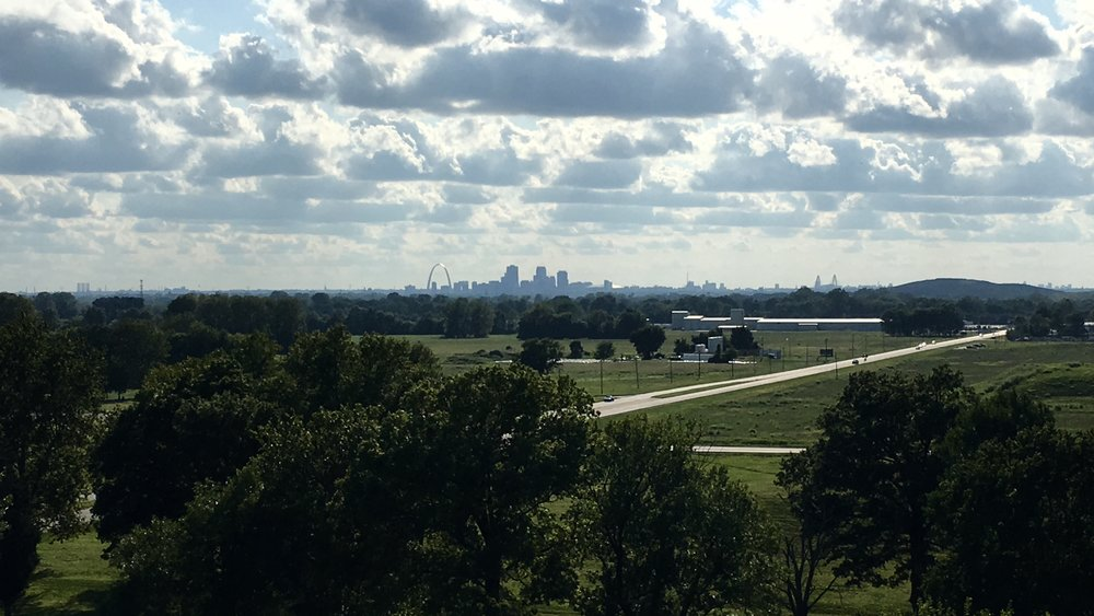 Saint Louis, Missouri, as seen from the top of Monks Mound in Illinois