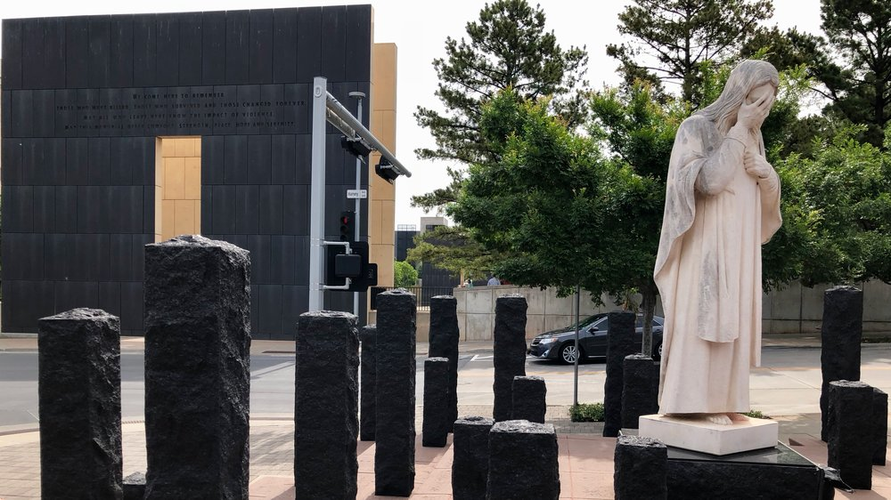 """""""A statue of Jesus stands across the street from the Oklahoma City National Memorial""""  (Image taken June 4th, 2018)"""