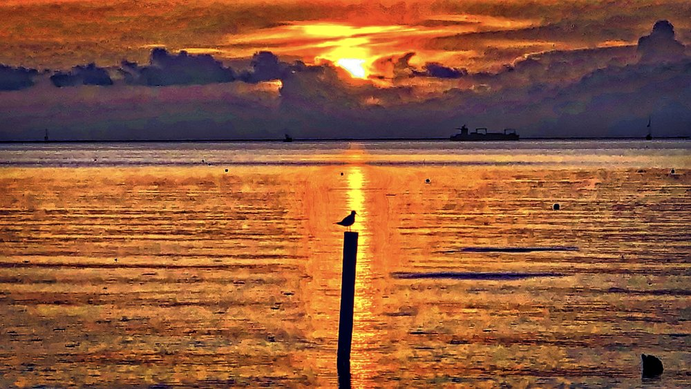 """""""Painting Galveston Bay"""" An edited photograph of Galveston Bay designed to resemble a painting. Image created by Alan S. Garrett."""