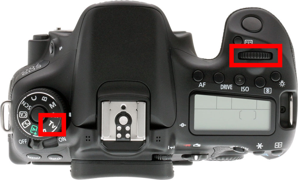 Select TV mode on the left, and use the knob on the right to change the shutter speed.