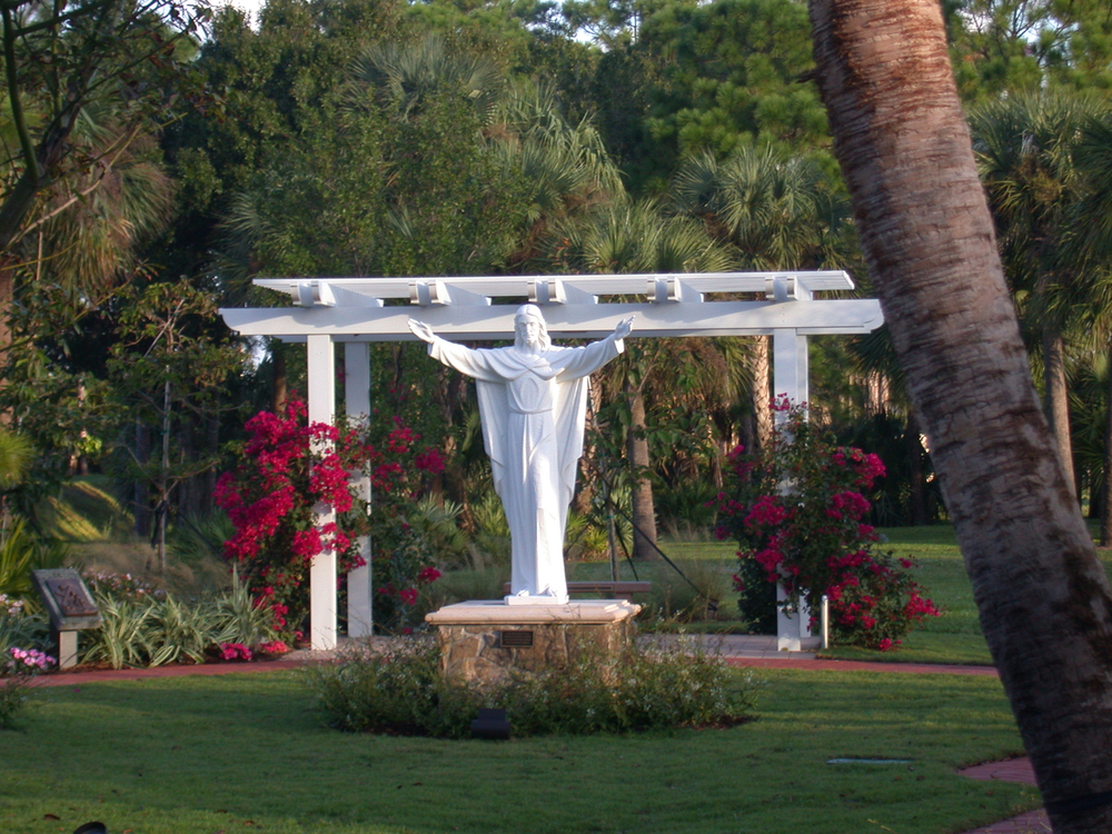 Meditation Garden at St. Peter Catholic Church Jupiter Trellis with Bougainvllea.jpg