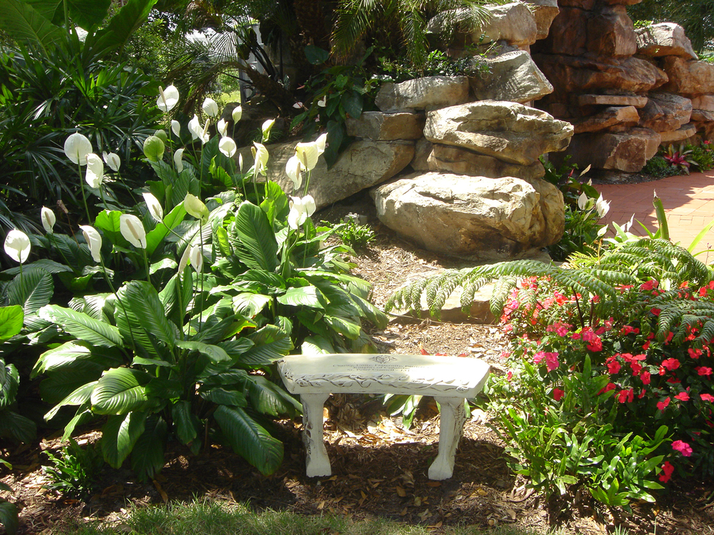 Meditation Garden at St. Peter Catholic Church Jupiter Bench.JPG