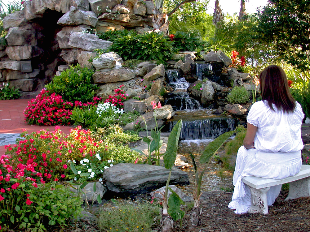 Meditation Garden at St. Peter Catholic Church Jupiter Entry to Grotto Annuals.jpg