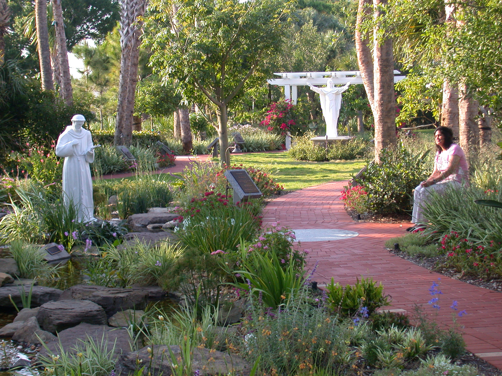 Meditation Garden at St. Peter Catholic Church Jupiter Stream with tropical plantings.jpg