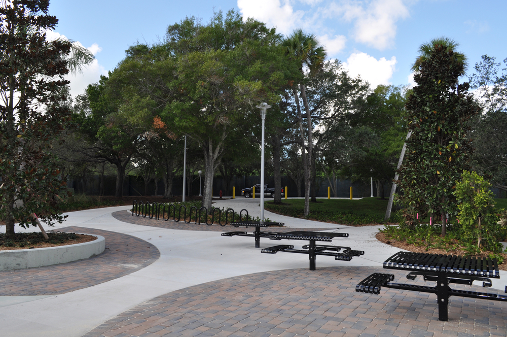 Harbor Branch Oceanographic Institute at FAU Research Laboratory II ADA Seating in Courtyard.JPG