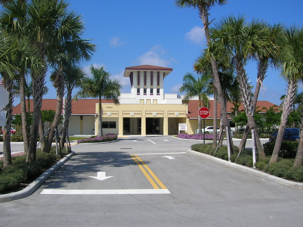 Palm Beach County West Boca Library Entry Landscape.JPG