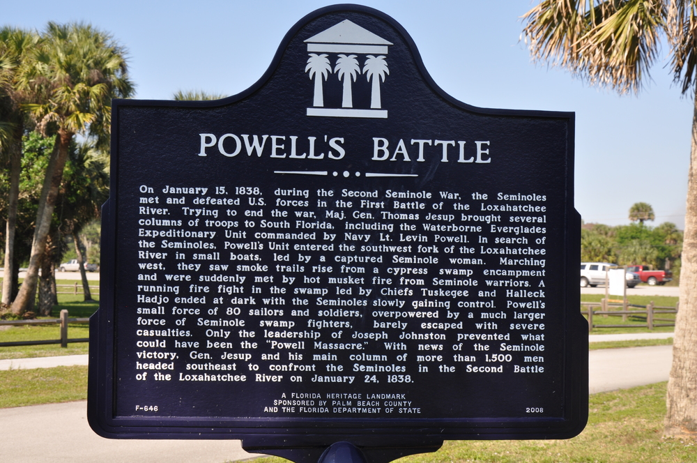Riverbend Park Palm Beach County Powells Battle Historical Sign.JPG