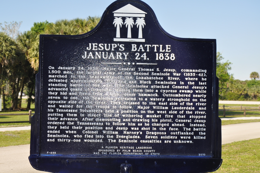 Riverbend Park Palm Beach County Jesups Battle Historic Sign.JPG