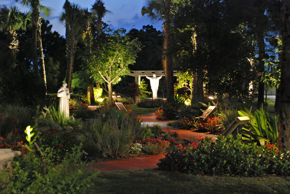 Meditation Garden at St. Peter Catholic Church Jupiter Garden Night Photo.jpg