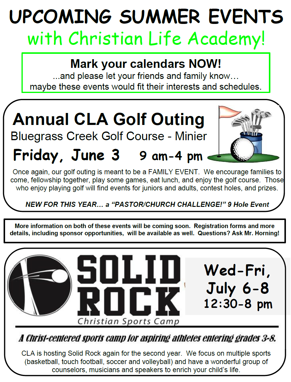 CLA Summer Activities 2016
