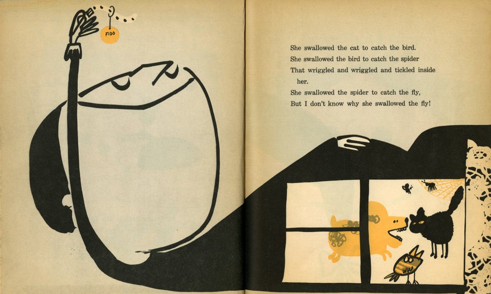 """There Was an Old Lady Who Swallowed a Fly""; Abner Graboff; Scholastic Book Services; 1961"