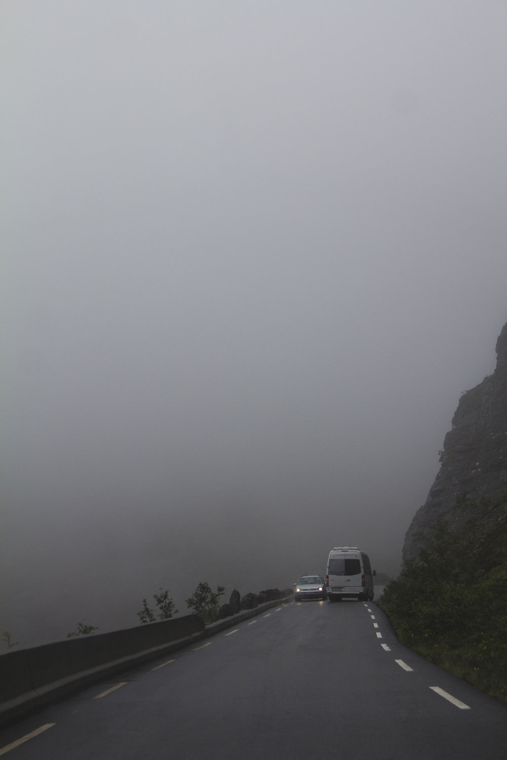 Driving into a cloud on narrow roads.