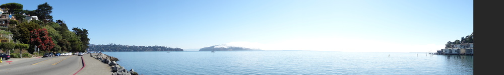 Bridgeway, Sausalito with Angel Island in the center of picture. (Richardson Bay)