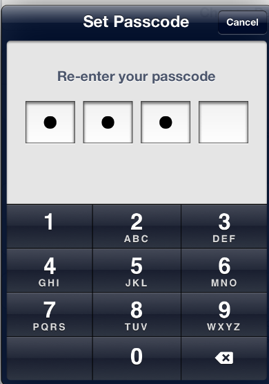 Simple Passcode on the iPad