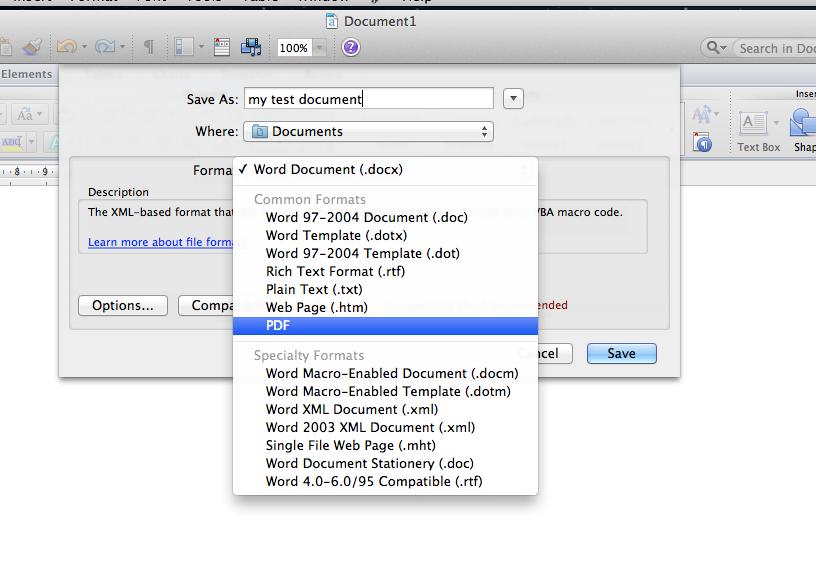 Saving a Word document as a .pdf File, Save As, Select .pdf