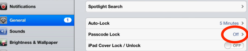 Turning on the security feature - simple passcode