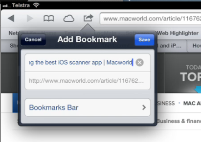 Add a bookmark to the Bookmarks Bar