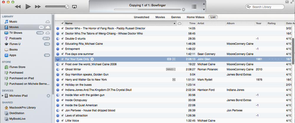 Importing a video into iTunes. Drag the file into iTunes or select File, Add to Library
