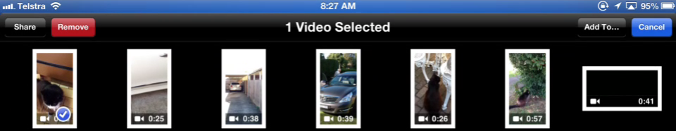 Deleting a video from the Camera roll in the Photos app.