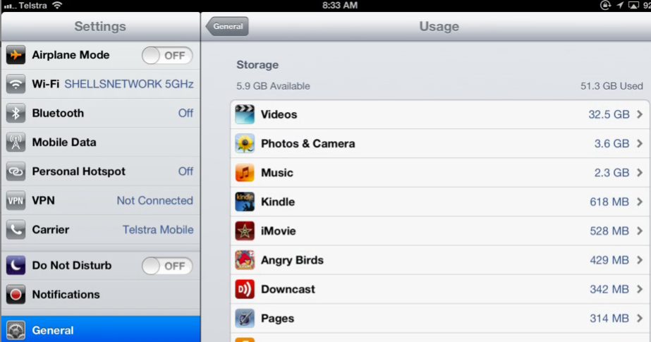 Settings, General, Usage - Look at the Storage results.