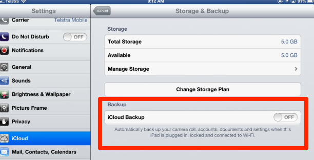iCloud is backing up if Backup is turned ON