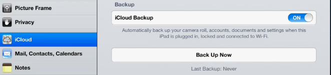 This iPad has never been backed up to iCloud.