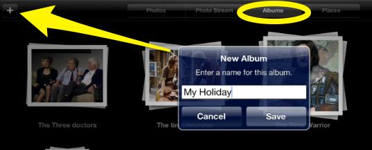 Create new album on the iPad Photos app
