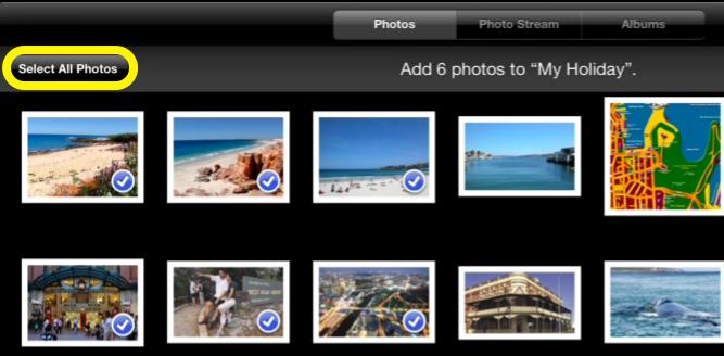 Adding photos to an Album in the iPad app, Photos