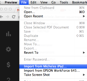 Preview can be used to import pictures from your iPad on the MAC