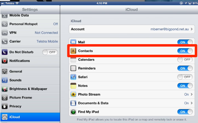 iCloud - Turn ON Contacts