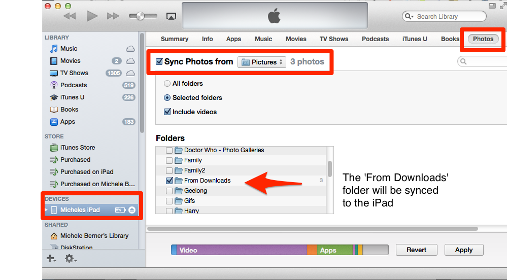 Sync images with iTunes
