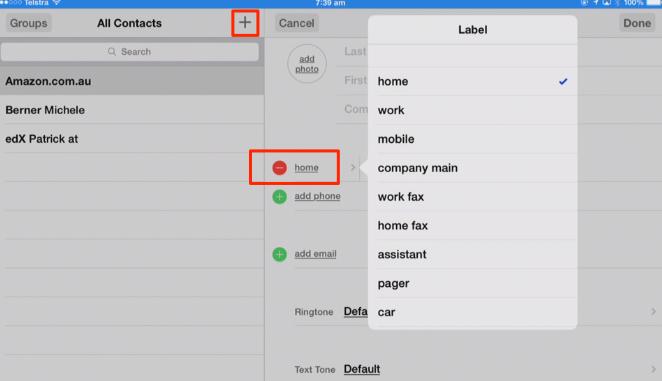 editing a contact
