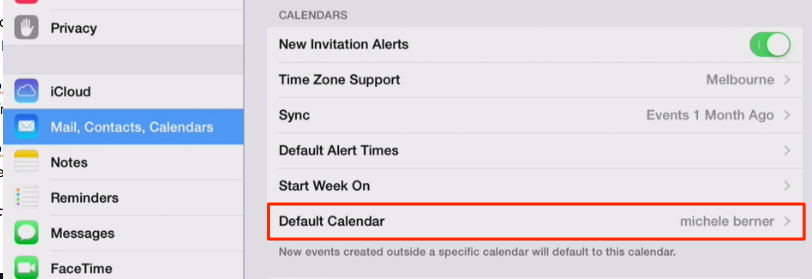 calendar default account