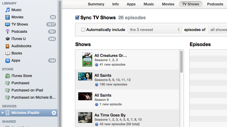 Use iTunes to sync TV shows, Movies, Music and Photos to and from your iPad