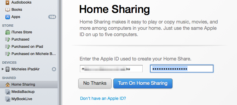 turn on home sharing in itunes