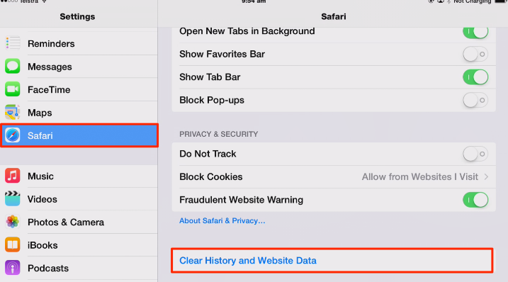 Delete Safari browser cache - history, website data and cookies
