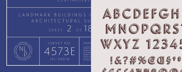 Landmark, an architectural letter via Hoefler & Co.