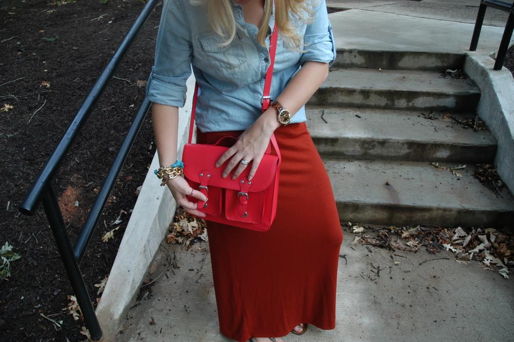 Skirt: Target | Purse: H&M | Jewelry: H&M, JoAnn Fabrics, Payless, Target | Sandals: Steve Madden