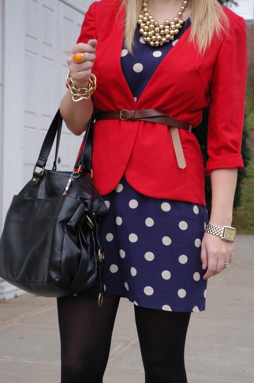 Dress:  Madewell  | Blazer: Handmade ( Cynthia Rowley Simplicity Pattern #2250 ) | Tights: Merona, Target | Shoes: Dolce Vita via TjMaxx | Purse: Target | Jewelry: Joann Fabrics, H&M, Belk | Belt: H&M | Shades: H&M