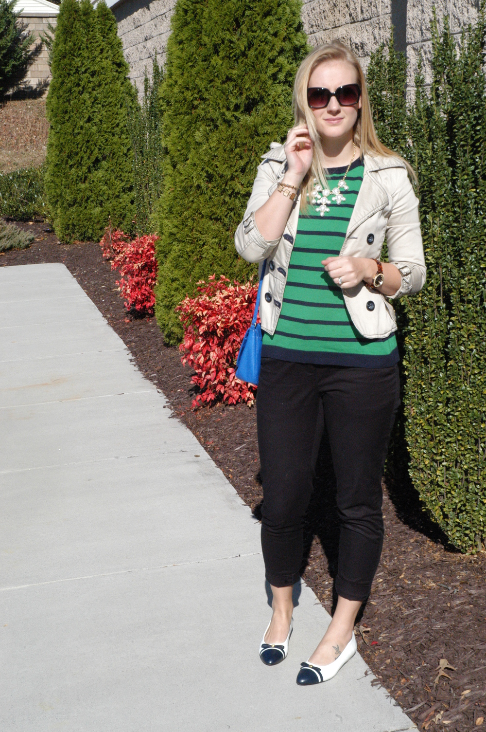 Jacket: not sure from where, either TJMaxx or Rugged Wearhouse | Sweater: Old Navy | Slacks: H&M | Flats: Goodwill | Purse: H&M | Shades: Cole Haan | Jewelry: BaubleBar, 2020AVE, LC Lauren Conrad, H&M, Target