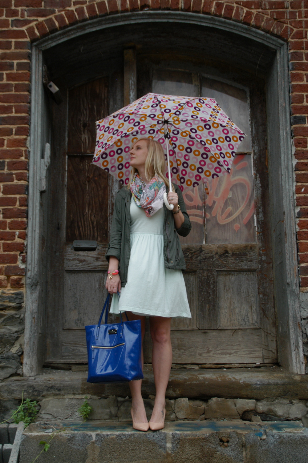 Dress: H&M | Jacket: JCPenney (a.n.a. brand) | Scarf: H&M | Bag: Kate Spade | Shoes: J.Crew | Umbrella: Target | Jewelry: Target & H&M