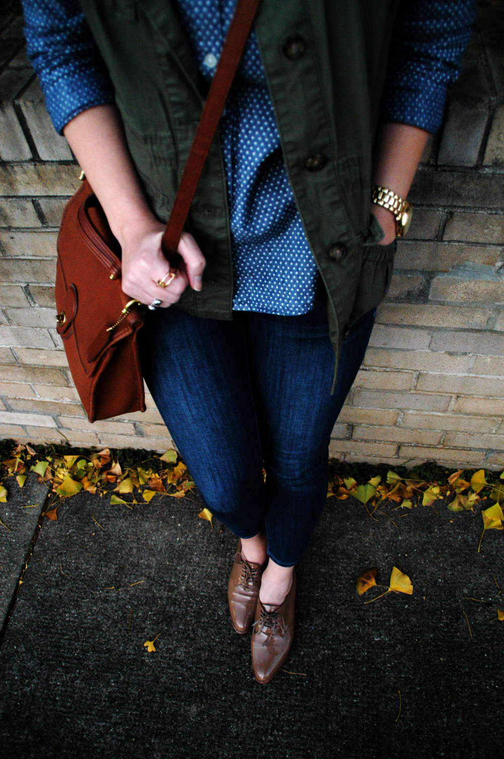 Jeans: Old Navy - Rockstar Skinnies | Vest: Old Navy | Button-up: Old Navy (Do we see a trend here?) Oxfords: Madewell (also like  these ) | Bag:  Coach  | Necklace: Charming Charlie | Rings: H&M