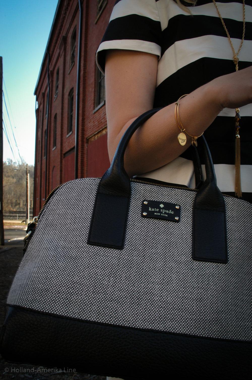 Jacket:  Forever21  | Dress:  H&M  | Boots:  Corso Como via Gilt  | Bag:  Kate Spade  (Southport Jenny) | Necklace: Target (similar)  | Bracelet:  Alex & Ani | Sunglasses:  Ray-Ban via SunglassHut