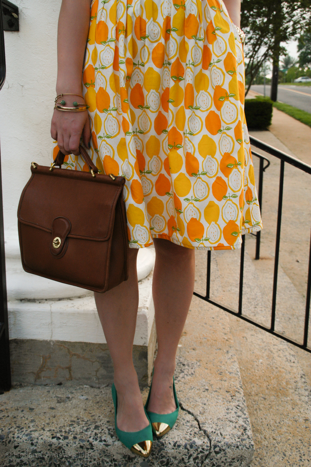 Dress: Handmade (fabric from Joann Fabrics) | Shoes: ShoeDazzle | Bag: Coach | Earrings: Target | Necklace:  a-thread