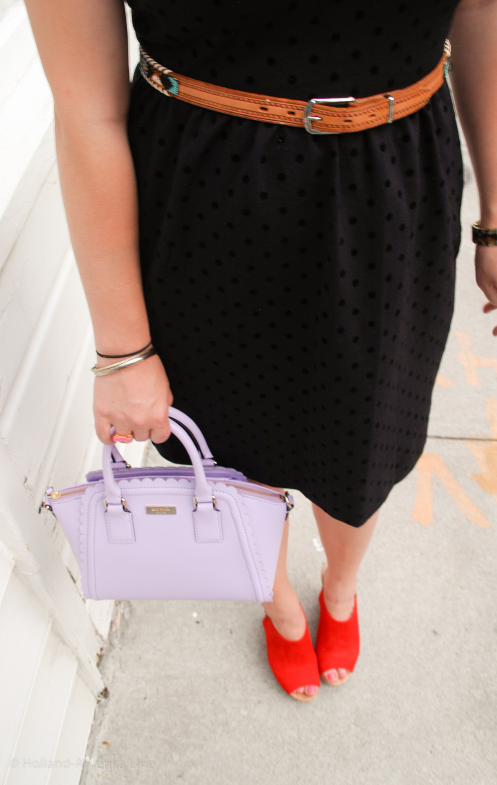 Dress: J.Crew | Belt: Vintage | Shoes: Payless | Bag: Kate Spade (marguerite) | Glasses: Ray Ban via Sunglass Hut