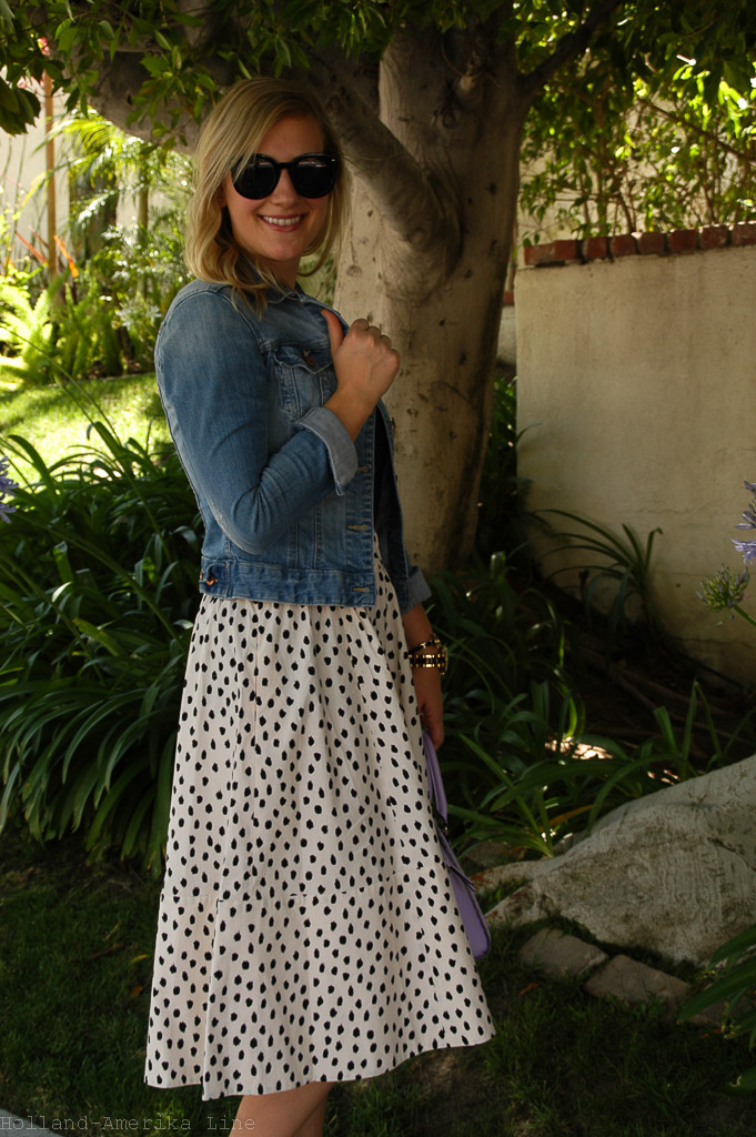 Skirt: kate spade | T-shirt: Lola (old) | Denim Jacket: H&M (L.O.G.G. brand) | Bag: kate spade | Shoes: J.Crew | Necklace: kate spade (charms) | Bracelets: Alex & Ani, kate spade | Watch: Fossil | Sunglasses: Old Navy