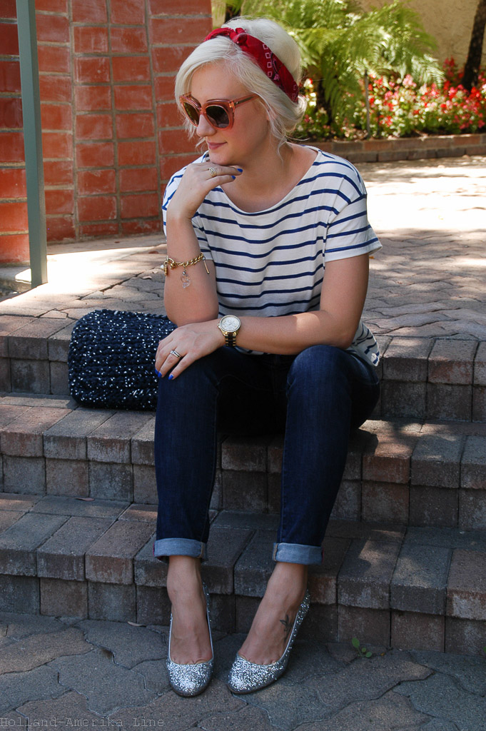 Top:  H&M  (L.O.G.G. Brand) | Jeans:  kate spade  | Shoes:  kate spade  | Bag: handmade by my mommy | Bandana: borrowed from phoebe :) (more  here  and  here ) | Sunglasses:  kate spade  | Watch:  Fossil  | Bracelet: Vintage | Belt:  Target